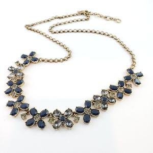 J. Crew Statement Necklace Blue + Gray Rhinestones